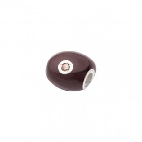 Sasso Grande Queriot Componente in Argento, Smalto Color Cioccolato e Diamante Brown 4 pt.