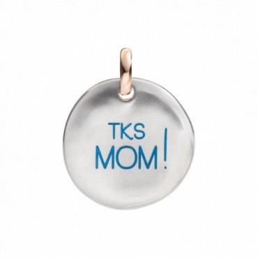 """Moneta Queriot """" Tks mom!"""" in Argento, Oro Rosa 9 Kt e Smalto color Turchese"""