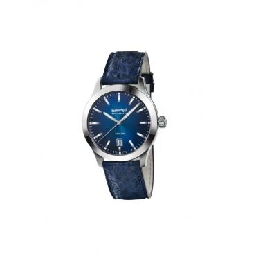 Orologio  Uomo  Eberhard  Aiglon Meccanico Automatico 41mm cassa in Acciaio quadrante Grigio scuro cinturino in Struzzo Blu
