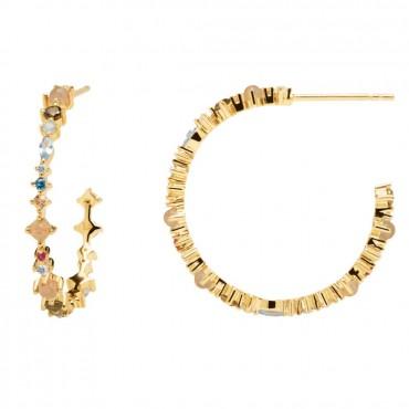 Orecchini PdPaola Cerchio in Oro Halo Daze Collection in Argento e Pietre Colorate