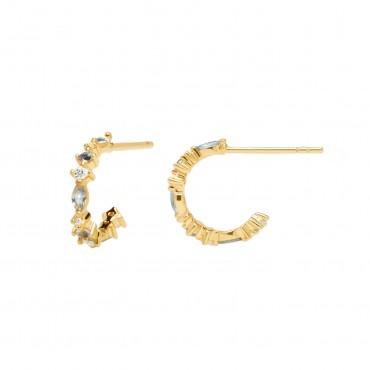Orecchini PdPaola Oro Ombrè in Argento 925 Placcato Oro e Cristalli Colorati