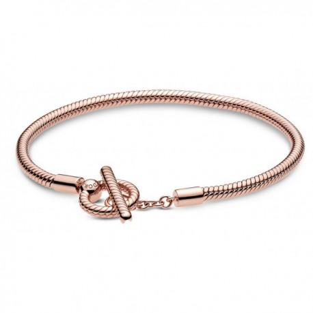 Bracciale Pandora Maglia Snake con Chiusura a T in Argento Sterling 925 Placcato Oro Rosa