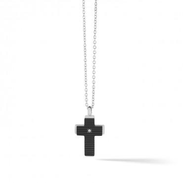 Girocollo Uomo Comete Collezione Cross in Acciaio, Trattamento PVD Nero e Zircone