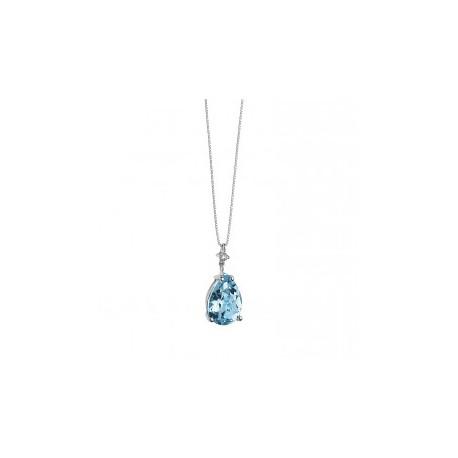 Collana Comete Gioielli Collezione Fantasia di Topazio in Oro Bianco, Topazio Goccia e Diamante P.Ct 1,5