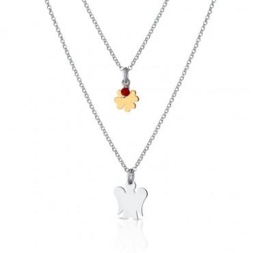 Collana Donna Roberto Giannotti a doppia catena con pendenti Angelo, quadrifoglio in argento giallo e charm corallo rosso