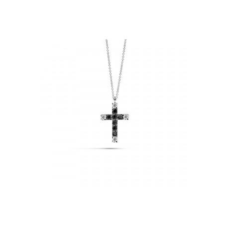 Collana Recarlo Collezione Face Cube con pendente a croce, in oro bianco 18 kt con diamanti black e quattro diamanti bianchi ta