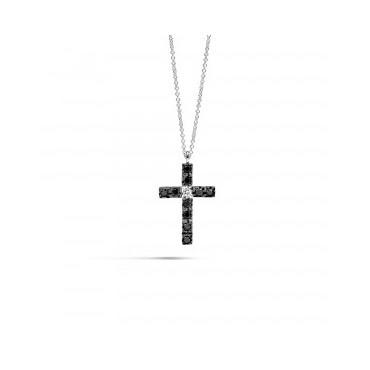 Collana Recarlo Collezione Face Cube con pendente a croce, in oro bianco con diamanti black e un diamante bianco taglio brillan