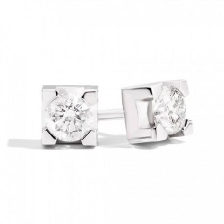Orecchini Solitario Donna Recarlo Collezione Maria Teresa in oro bianco e diamante taglio brillante Ct 0,16