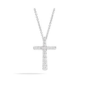 Collana Recarlo con pendente a croce in oro bianco e diamanti taglio brillante 0,31 Ct