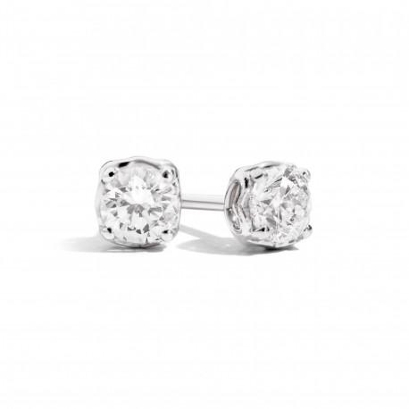 Orecchini Solitario Recarlo in Oro Bianco e Diamante 0,61 Ct