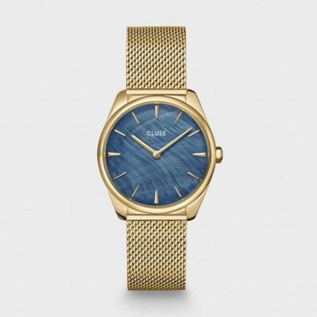 Orologio Donna Cluse Fèroce Petite Al quarzo 31.5mm cassa Nera quadrante Blu cinturino in Acciaio