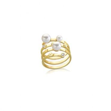 Anello a Fascia  Lauren P. Jewels in Argento Placcato Oro Giallo con Perle e Pietre Bianche  Regolabile