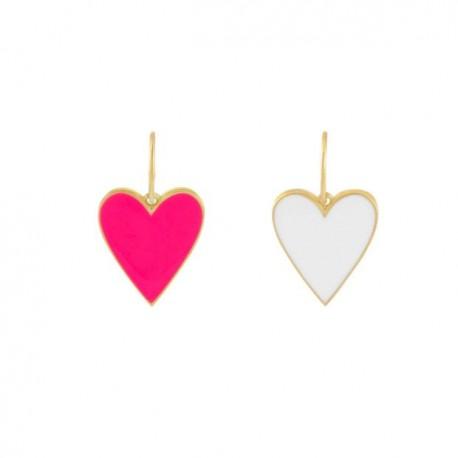 Charm cuore Lauren P in Argento, Placcato oro giallo e smalto double face colorato