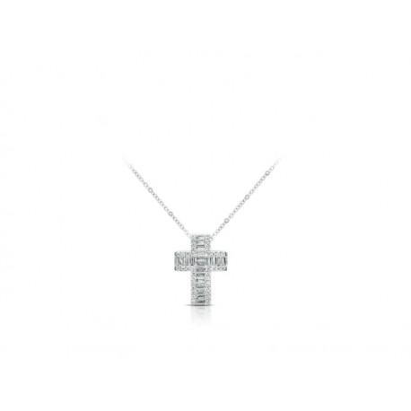 Collana Croce Gianni Carità in Oro Bianco impreziosita da Diamanti Taglio Baguette e Taglio Rotondo