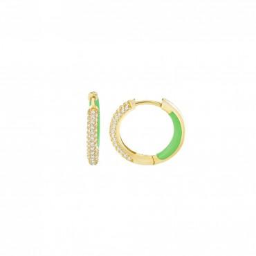 Orecchini Cerchio Lauren P in Argento, Placcato Oro giallo con Smalto Verde Fluo
