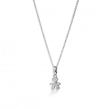 Collana Le Bebè Bimbo in Oro Bianco e Diamanti Ct 0,11 Collezione I Pavè Mini