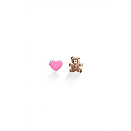 Orecchini Le Bebè Orsetto e Cuore in Oro Giallo e Smalto Collezione Toys