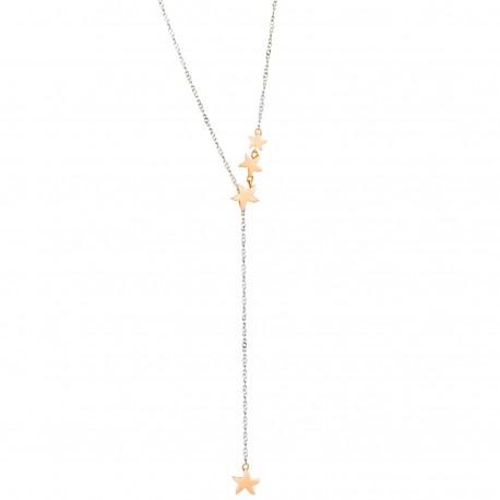 Collana Lariat Dodo con Stelline in Argento e Oro Rosa